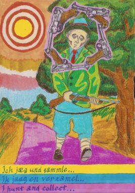 jager verzamelaar, tekening van Cedric ter Bals, ter illustratie van het interview met hem